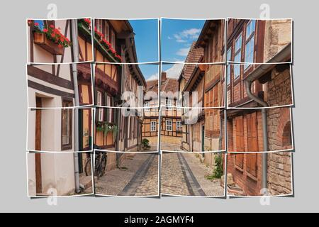 16 small pictures give a big picture. Gildschaft alley in Quedlinburg, Saxony-Anhalt, Germany, Europe - Stock Photo