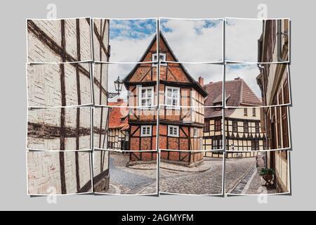 Half-timbered house Finkenherd 3, in the alley Finkenherd below the Schlossberg, Quedlinburg, Saxony-Anhalt, Germany, Europe - Stock Photo