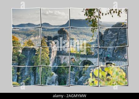 Spectacular rock formation Bastei (Bastion) and Bastei Bridge, Saxon Switzerland, municipality Lohmen, Saxony, Germany, Europe - Stock Photo