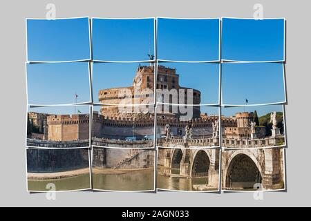 Bridge of Hadrian, Ponte Sant'Angelo and Castle of the Holy Angel, Castel Sant'Angelo, Rome, Lazio, Italy, Europe. - Stock Photo