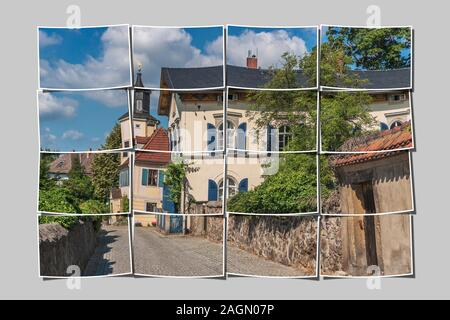 16 small pictures give a big picture. Meinholdsches Turmhaus, Wine-growing estate built at 1720, Radebeul near Dresden, Saxony, Germany, Europe - Stock Photo