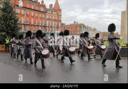 Welsh Guards band at Windsor Castle - Stock Photo