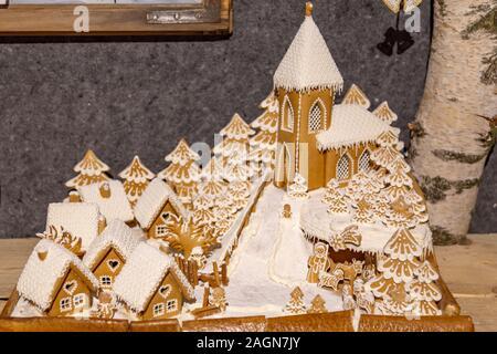 Prague,Czech Republic, December 12, 2019: Nativity scene made from biscuit in Prague - Stock Photo