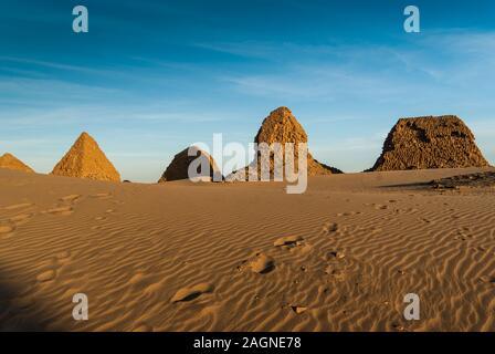 Pyramids, Royal Necropoiis, Nuri near Karima, northern Sudan - Stock Photo
