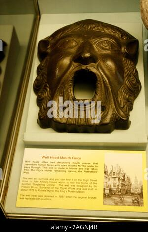 well head mouth piece of Netherbow well on display in Edinburgh, Scotland - Stock Photo