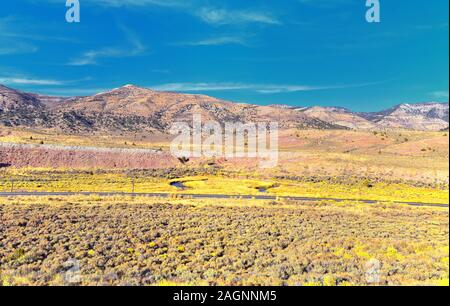 Panorama views of mountains, desert and landscape around Price Canyon Utah from Highway 6 and 191, by the Manti La Sal National Forest in the United S