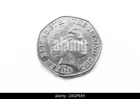 Twenty Pence Coin from Jersey - Reverse Showing Queen Elizabeth II - Stock Photo