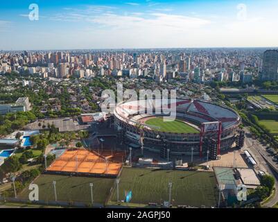 Aerial view of Estadio Monumental Antonio Vespucio Liberti Stadium in Belgrano District of Buenos Aires
