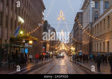 Aleksanterinkatu Street in Chrismas Lights in Helsinki Finland - Stock Photo