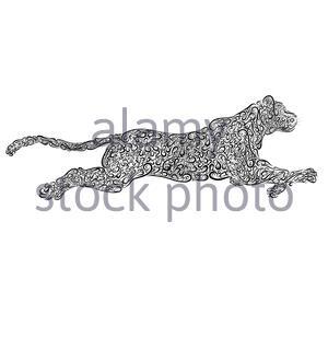 running predatory big cat, black curl pattern - Stock Photo