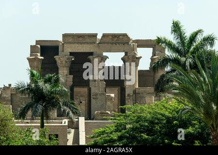 Ruins and Hieroglyphs in the famous Temple of Kom Ombo in Egypt on nile river bank. - Stock Photo