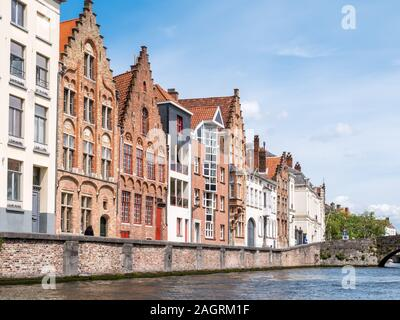 Historic old and new facades of houses along Spiegelrei canal in Bruges, Belgium - Stock Photo