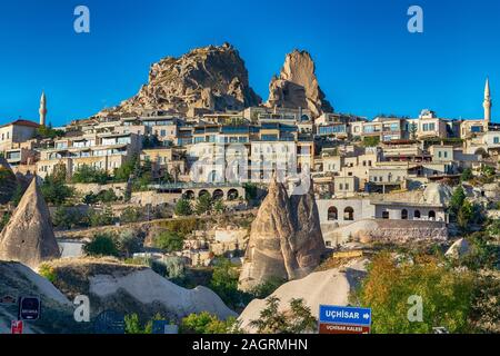 View of the Uchisar town. The cave city in Cappadocia. Turkey The perfect place to watch hot air balloons - Stock Photo