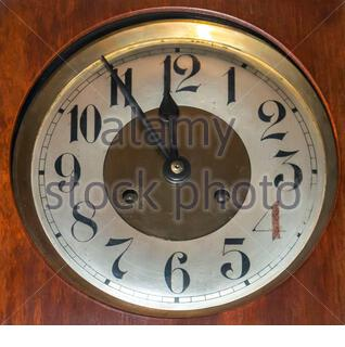Vintage clock! 5 to 12 ', suitable for New Year`s Eve. Close up - Stock Photo