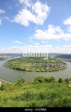 Great bow of the Rhine Valley near Boppard, Germany. - Stock Photo