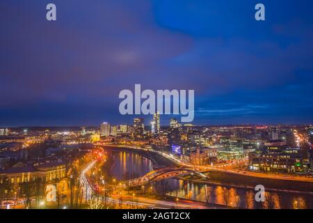 Vilnius city with glowing buildings in the evening light