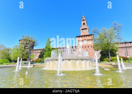 Beautiful View of Sforzesco Castle and Fountain in Milan, Italy - Stock Photo