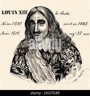Portrait of Louis XIII the Just (1601 - 1643). King of France from 1610 to 1643. House of Bourbon. History of France, from the book Atlas de la France - Stock Photo