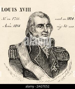 Portrait of Louis XVIII (1755 - 1824). King of France from 1814 to 1824. House of Bourbon. History of France, from the book Atlas de la France 1842 - Stock Photo
