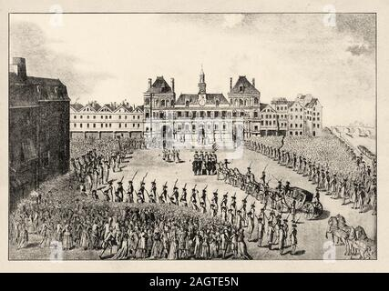 Louis XVI restorer of the French liberty, goes to city hall on the 17th of July 1789. Paris, France. French Revolution 18th century. History of France - Stock Photo
