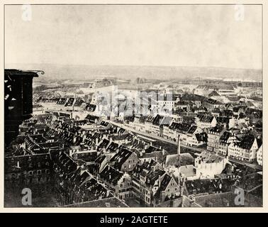 The Province during the War of 1870-71. Strasbourg in 1870. General view taken from the cathedral. History of France, old engraved illustration image