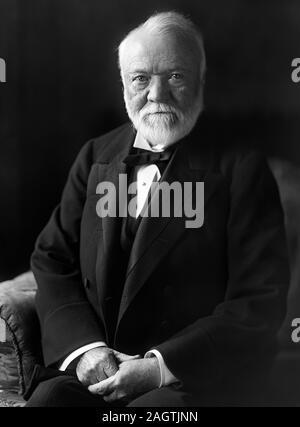 Vintage portrait photo of Scottish-American industrialist and philanthropist Andrew Carnegie (1835 – 1919). Photo circa 1910 by Harris & Ewing. - Stock Photo