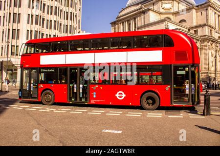 May 19, 2018 – Alton Towers, England, United Kingdom. Here is a typical view in London of one of it's modern day buses. - Stock Photo