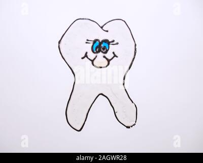 Cute cartoon tooth smiling funny face character. Shining effect. Oral dental hygiene. Dentist laboratory Prague, 16th of December 2019. - Stock Photo