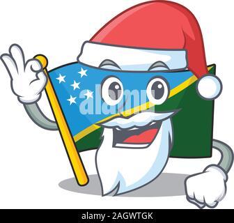Santa flag solomon island Scroll cartoon character design with ok finger - Stock Photo