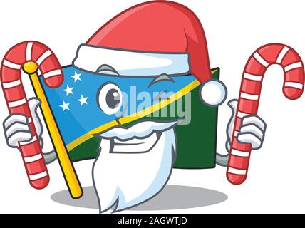 Happy flag solomon island Scroll Cartoon character in Santa with candy - Stock Photo
