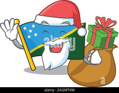 Santa flag solomon island Scroll Cartoon character design with box of gift - Stock Photo