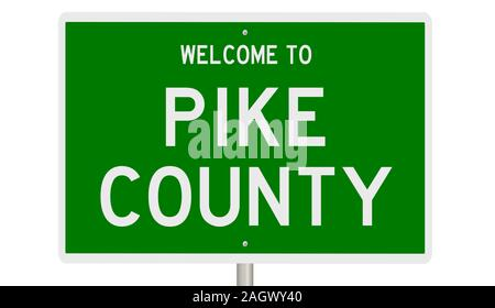 Rendering of a green 3d highway sign for Pike County - Stock Photo