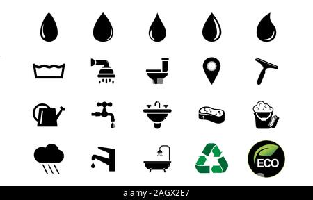 Water icon set flat style black on white background, simply vector design, water symbol icons, water drop silhouette. - Stock Photo