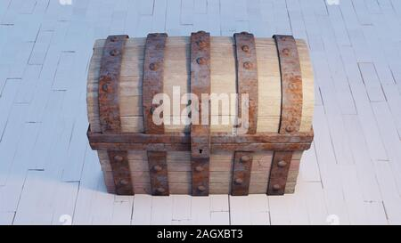 Front View and close-up of an old wood with rusty metal Chest closed put on a white wood floor - Stock Photo