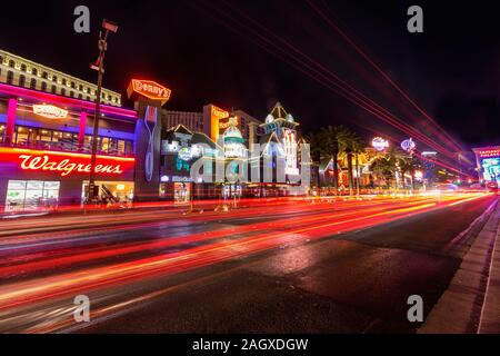 LAS VEGAS - JANUARY 24, 2018 : Las Vegas strip shot with long exposure and light trails from passing cars located in the CityCenter complex on the Las - Stock Photo