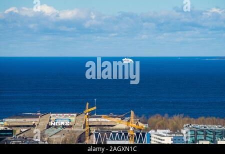 20 April 2019, Tallinn, Estonia. High-speed passenger and car ferry of the Estonian shipping concern Tallink MEGASTAR in the port of Tallinn. - Stock Photo