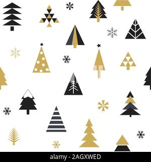 Seamless pattern with Christmas trees in black and gold on white background. - Stock Photo