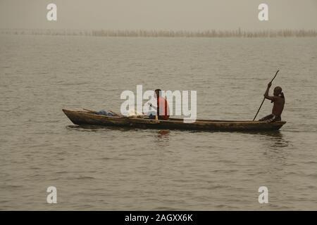 Fisherman on Lake Togo in Togo - Stock Photo