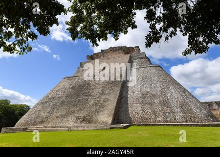 Pyramid of the Magician in Uxmal, an ancient Maya city of the classical period located in the Puuc region of the eastern Yucatan Peninsula, Mexico - Stock Photo