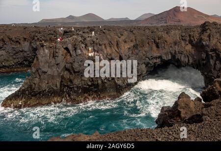 The coast of Lanzarote in Los Hervideros, Canary Islands, Spain - Stock Photo