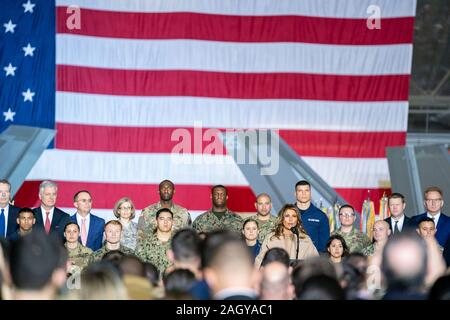 U.S First Lady Melania Trump remarks during a signing ceremony for Sl.1790, the National Defense Authorization Act for Fiscal Year 2020 in Hanger 6 at Andrews Air Force Base December 20, 2019 in Clinton, Maryland. Trump held the event before departing for a two-week vacation to his resort in Palm Beach. - Stock Photo