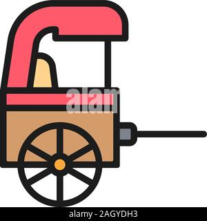 Vector rickshaw, traditional chinese taxi flat color line icon. - Stock Photo