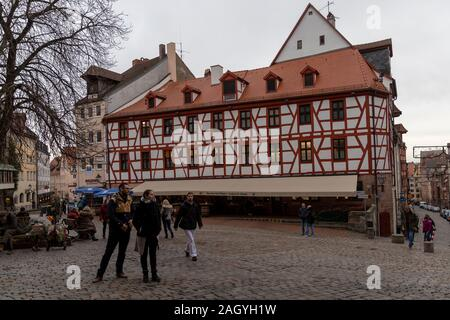 Nuremberg is a christmas city. It has one of most famous christmas markets in Germany and holiday season is visible all over city. - Stock Photo