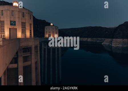 Night view of the famous Hoover Dam at Nevada - Stock Photo