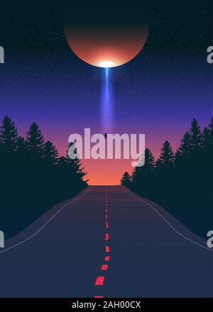 An imagery illustration of the alien ship abducting one man from the road during night time. - Stock Photo