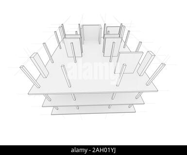 Drawing or sketch of a house under construction. Construction site. Main line, back contour and auxiliary lines. 3D illustration - Stock Photo