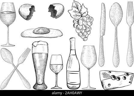 Food set doodle. Cafe menu. Hand drawn sketch. Vector illustration - Stock Photo