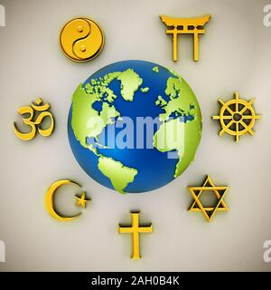 Religion symbols scattered around earth . 3D illustration.
