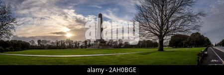 DUBLIN, IRELAND, DECEMBER 21, 2018: Beautiful panoramic view of Phoenix Park and Wellington Monument obelisk, also known as the Wellington Testimonial - Stock Photo