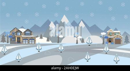 Houses In Mountains on a snowy day. Winter/Merry Christmas Collection. - Stock Photo